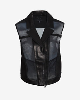 Ohne Titel Leather Mesh Combo Vest: Black