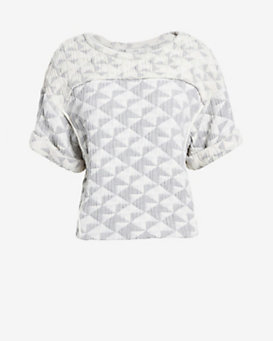IRO Diamond Patchwork Short-Sleeve Top