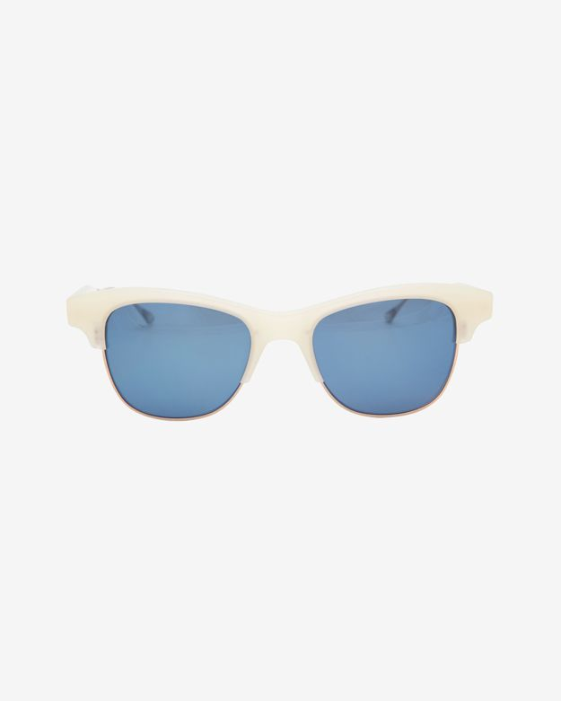 Oliver Peoples West Hobson Mirrored Lense Acetate Rim Sunglasses: White