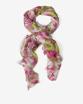 Destin Tropical Flower Print Scarf