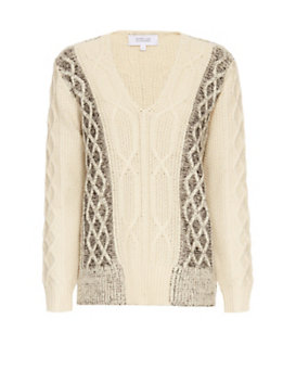 Derek Lam 10 Crosby Chunky Cable Knit V Neck
