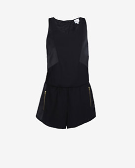 Parker Regina Open Back Sleeveless Romper: Black
