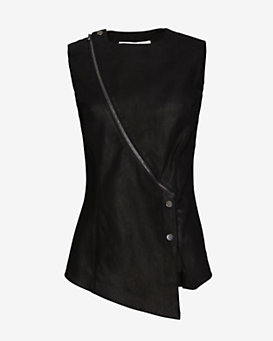 Veronica Beard Zipper Detailed Leather/Scuba Top