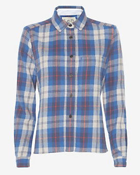 Sea Eyelet Back Plaid Shirt