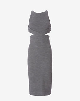 Cushnie Et Ochs Cut Out Side Waffle Knit Dress