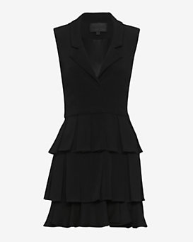 Cushnie Et Ochs Ruffle Hem Dress: Black