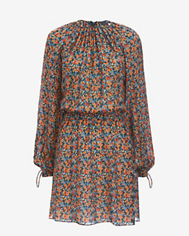 Derek Lam Tie Detail Floral Print Dress