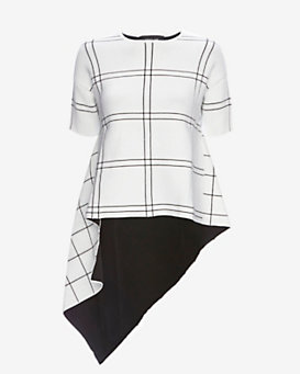 Derek Lam Grid Pattern Asymmetric Top