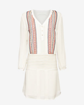 Veronica Beard Elm Embroidered Silk Dress