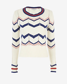 Veronica Beard Kindling Chevron Knit Sweater