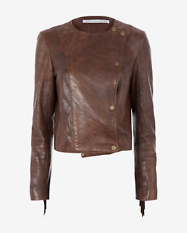 Veronica Beard Frontier Fringe Leather Jacket