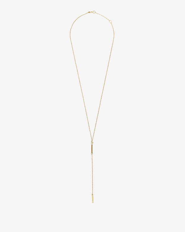 Jennifer Zeuner Diamond Detail Double Mini Bar Lariat Necklace