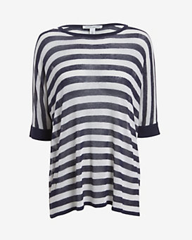 Autumn Cashmere Striped Short-Sleeve  Tunic