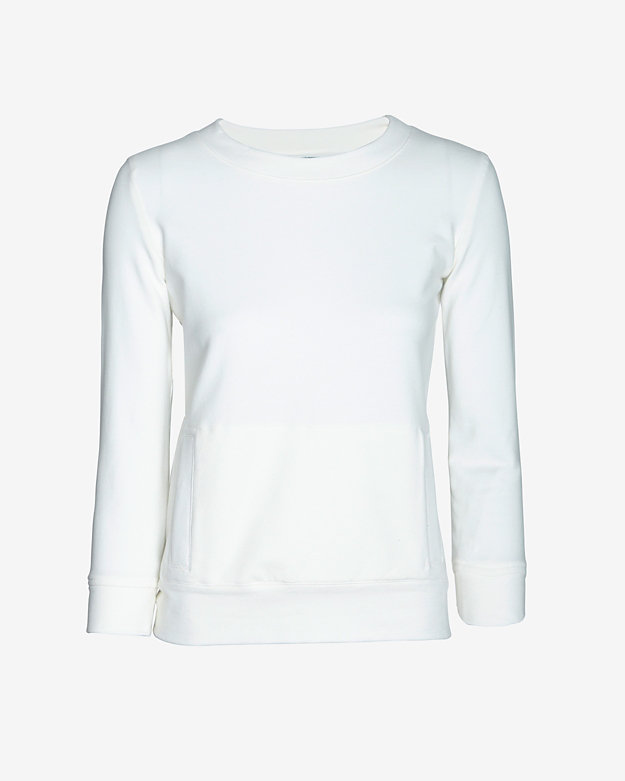 SWEATS by Norma Kamali Pocket Sweatshirt: White