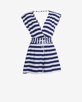 Ondademar Deep V Striped Cotton Romper