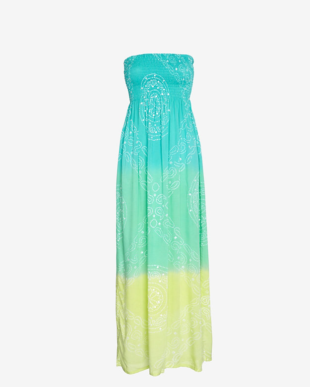 Cool Change Strapless Ombre Tie Dye Maxi Dress