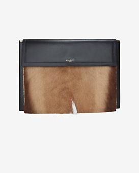 Nina Ricci 'Mies' Genuine Kangaroo Fur & Leather Clutch
