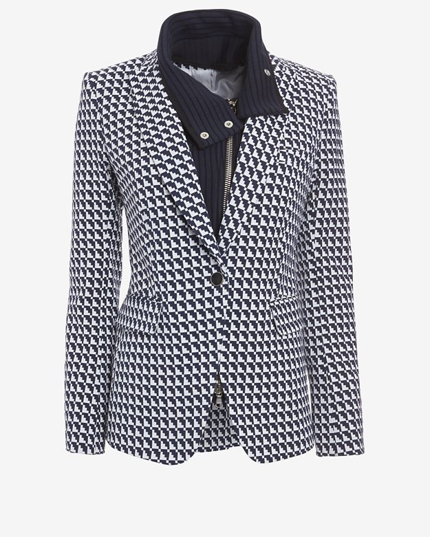 Veronica Beard Houndstooth Pattern Blazer