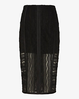 Veronica Beard Pointelle Lace Pencil Skirt