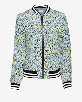 Equipment Abbot Contrast Band Floral Bomber Jacket