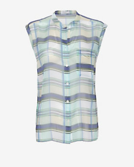 Equipment EXCLUSIVE Diem Checkered Print Sleeveless Blouse