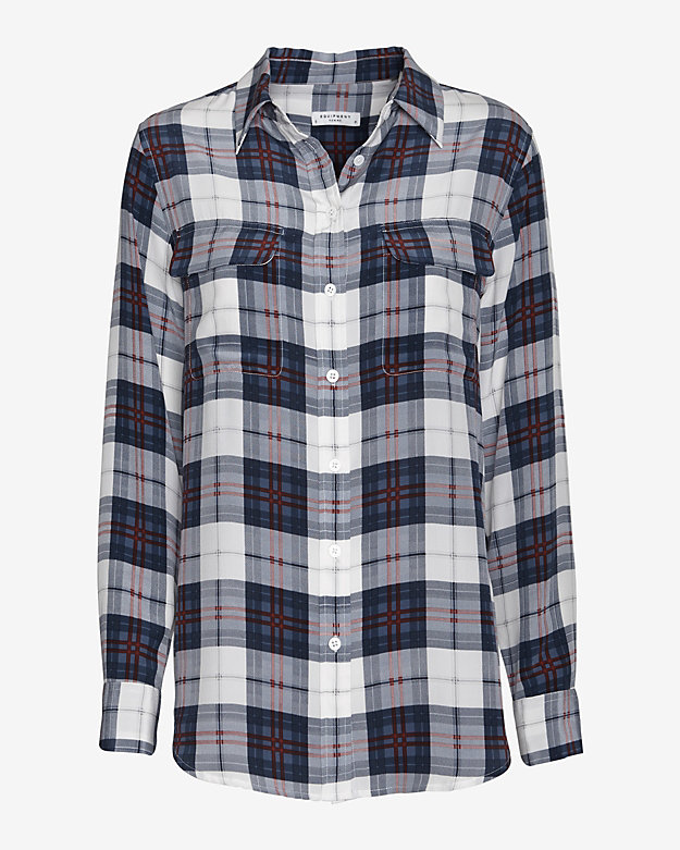 Equipment Slim Signature Plaid Print Blouse: Blue