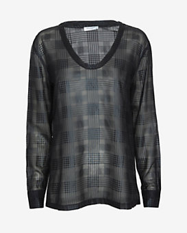Equipment EXCLUSIVE Jaden Metallic Plaid Tee