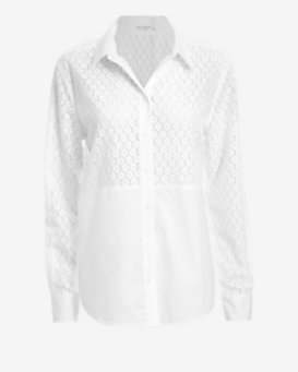 Equipment EXCLUSIVE Poplin Detail Lace Blouse