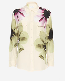 Equipment Signature Two Pocket Floral Print Blouse