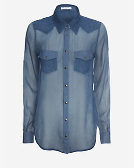 Equipment EXCLUSIVE Denim Chiffon Shirt