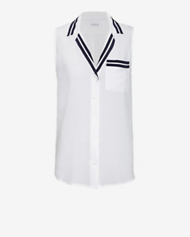 Equipment Keira Sleeveless Contrast Stripe Detail Blouse