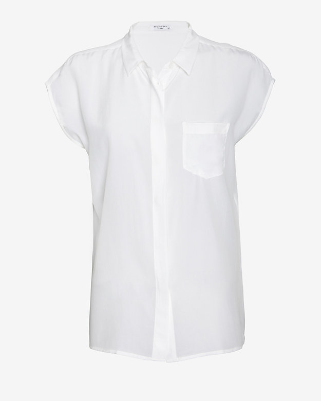 Equipment Jensen Hidden Placket Sleeveless Blouse: White