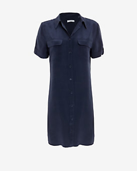 Equipment Slim Signature Double Flap Pocket Short Sleeve Dress: Navy