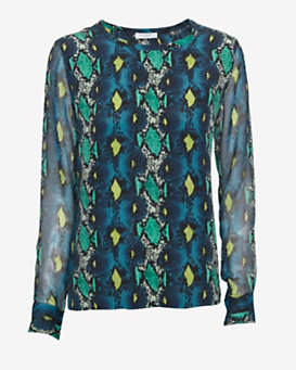 Equipment Contrast Sleeve Snake Print Silk Pullover