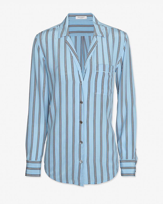 Equipment Pinstripe Pajama Blouse: Periwinkle