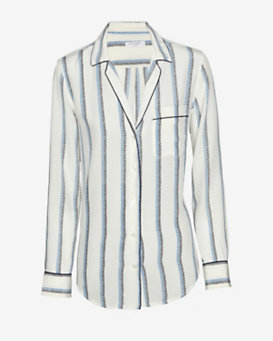 Equipment EXCLUSIVE Keira Pinstripe Pajama Blouse: White