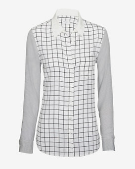 Equipment EXCLUSIVE Brett Grid/Stripe Mixed Print Blouse