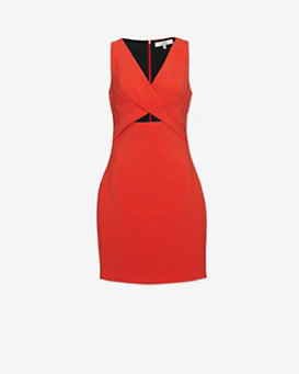 Robert Rodriguez Tech Suiting Cut Out Dress