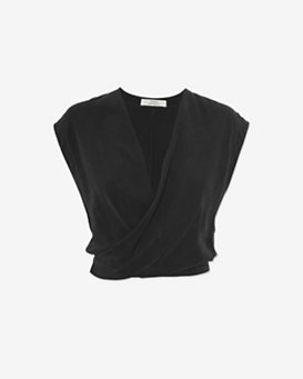 Robert Rodriguez Sleeveless V Wrap Open Back Crop Top