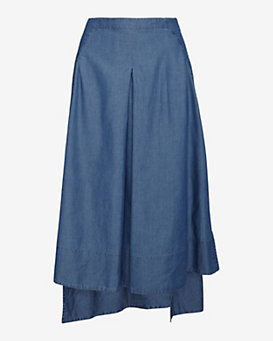 Robert Rodriguez Seamed Chambray Hi/Lo Skirt