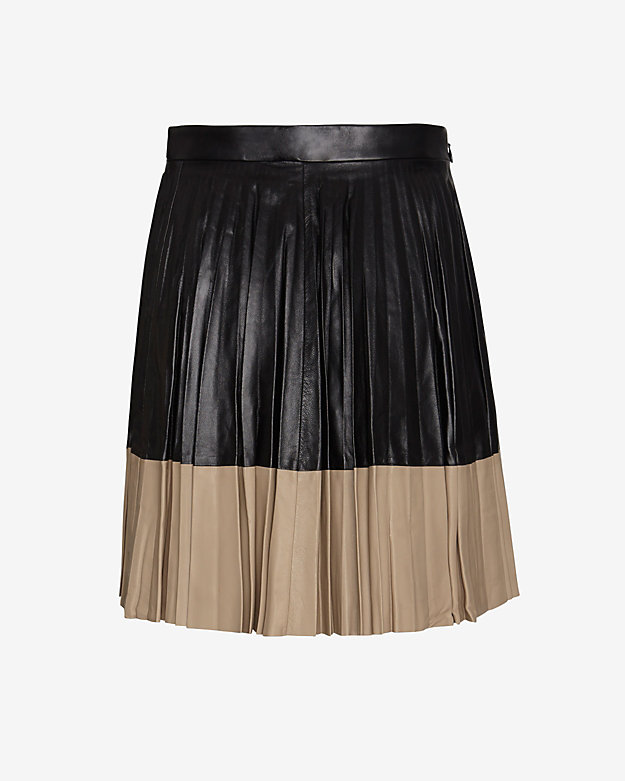 Robert Rodriguez Two Tone Pleated Leather Mini Skirt