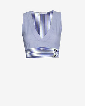 Derek Lam 10 Crosby Striped Wraparound Belt Bralette