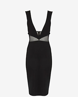 Cushnie Et Ochs Deep V Mesh Dress