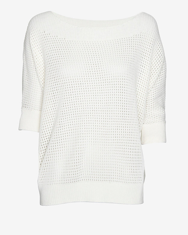 Minnie Rose Cashmere Mesh Short Sleeve Sweater
