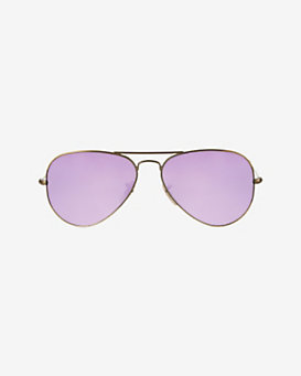 Ray-Ban Metallic Lense Aviator Sunglasses: Purple