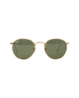Ray-Ban Green Mirrored Lense Gold-Tone Round Frame Sunglasses