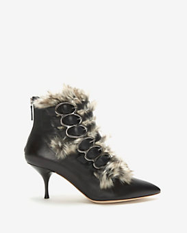 Jerome C. Rousseau Synthetic Fur Front Kitten Heel Leather Bootie