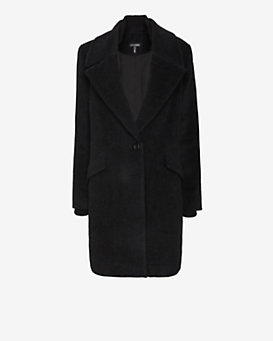 Exclusive for Intermix Contrast Collar Long Coat: Charcoal