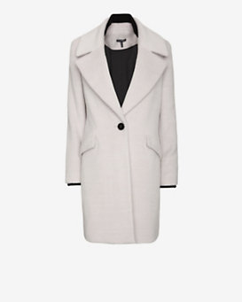 Exclusive for Intermix Contrast Collar Long Coat: Grey