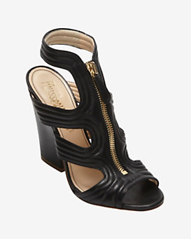 Jerome C. Rousseau Vamp Zipper High Heel Sandal: Black
